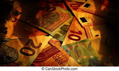Euros Banknotes Rotating In Fire