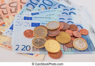 Euros coins and notes - Euro coins and banknotes currency of...