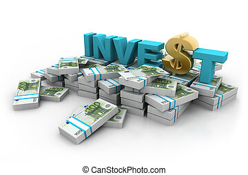 euros, con, invierta, y, dólar