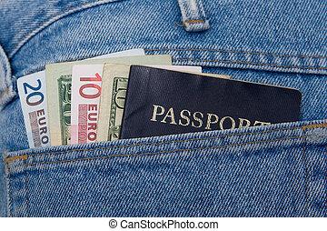 euros, dólares, e, passaporte