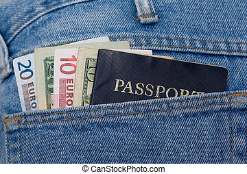 euros, dollars and passport - Money and passport in jeans...