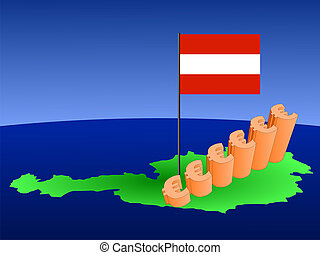 euros graph on Austria map