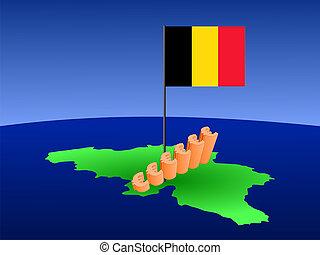 euros graph on Belgium map