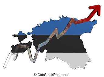 Euros graph on Estonia map flag