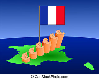 euros graph on France map