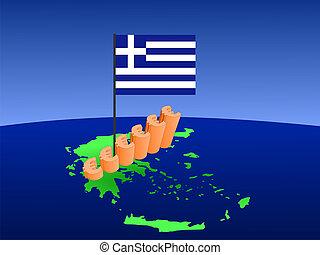 euros graph on Greece map