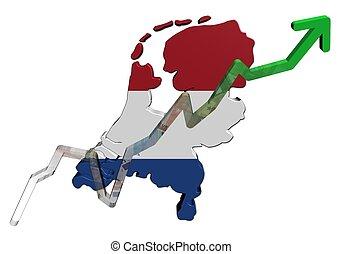 Euros graph on Netherlands map flag