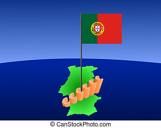 euros graph on Portugal map