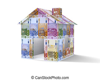 Euros house - 3D house made from euros on white background
