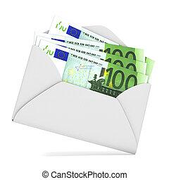 Euros in envelope. 3D render