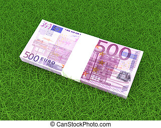Euros in the grass