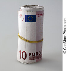 Euros roll over gray background, fixed with rubberband
