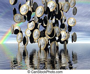 euros - digital visualization: it´s raining money