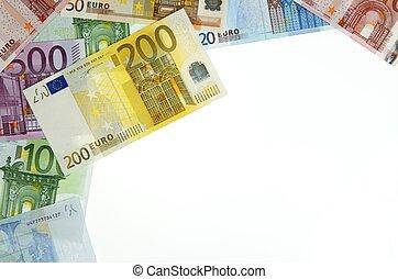 euros - view of a diverse group of European banknotes