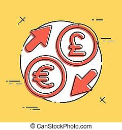 euro/sterling, -, échange devise étrangère, icône