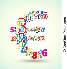 euroteken, gekleurde, vector, lettertype, van, getallen