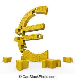 euroteken, optredens, geld, investering, in, europa
