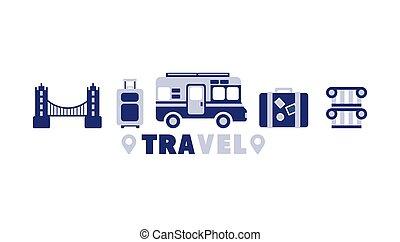 eurotrip, set, reizen, symbolen, vijf, lijn