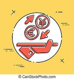 euro/yuan, -, échange devise étrangère, icône
