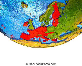Eurozone member states on 3D Earth with divided countries ...