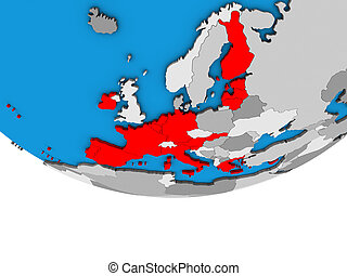 Eurozone member states on 3D globe - Eurozone member states ...