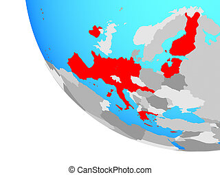 Eurozone member states on globe - Eurozone member states on ...