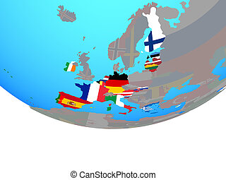Eurozone member states with flags on globe - Eurozone member...