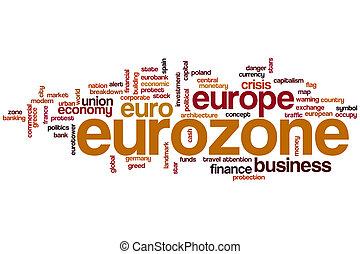 eurozone, wort, wolke
