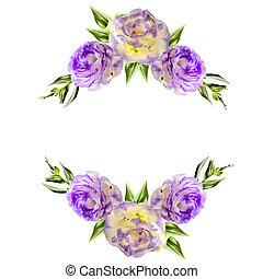 eustoma, 紫色, 型, フレーム, 2, コーナー, 花, 花