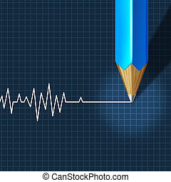 Euthanasia Medical Intervention as a medical health care concept of doctor social dilemma in end of life termination as a pencil drawing an ecg or ekg flatline on a monitor graph.