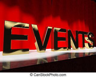 evénements, mot, étape, projection, ordre du jour, concerts,...
