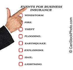 evénements, pour, assurance commerciale