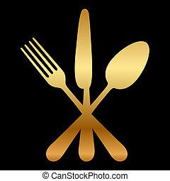 evőeszköz, ábra, arany, ikon