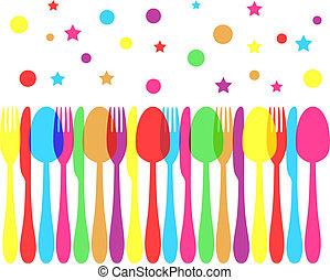 evőeszköz, ünnepies, színezett