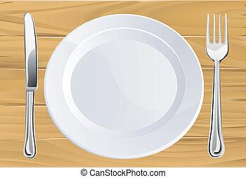 evőeszköz, asztal, fából való, tányér