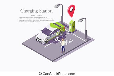 Ev charging station technology vector web banner template