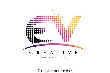 EV E V Letter Logo Design with Magenta Dots and Swoosh