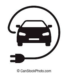EV electric car with plug icon vector green energy concept for graphic design, logo, web site, social media, mobile app, ui illustration.