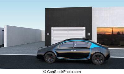 EV self-driving to garage - Autonomous car park to garage by...