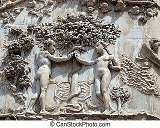 eva, adam., fruit, facade., -, aanbiedingen, scènes, pillar:, verboden, genesis., duomo, eerst, orvieto
