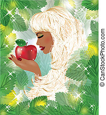 Eva and red apple