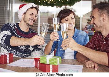 eva, jaren, tijd, nieuw, kerstmis, vieren