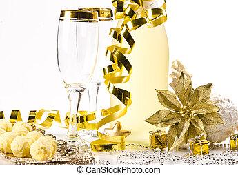 eva, nieuw, glas, jaar, champagne
