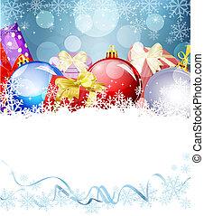 eva, pelotas, año, regalos, plano de fondo, nuevo, navidad