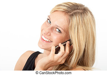 Eva telefoniert freundlich - Junge Frau telefoniert mit dem...
