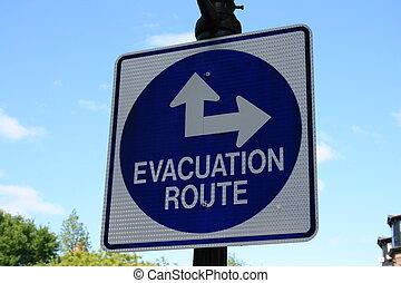Evacuate - Evacuation route sign.