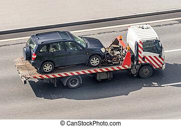 evacuated, antenne voiture, porte, autoroute, camion, remorquage, vue.