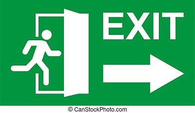 evacuatie, deur, man, symbool., afslaf, teken., vector, veiligheid, helpen, rennende , ontsnapping, pictogram