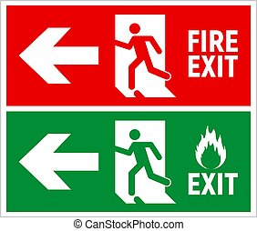 evacuatie, route, vector, richtingwijzer, ontsnapping, pictogram, noodgeval, teken., fire door, meldingsbord, afslaf