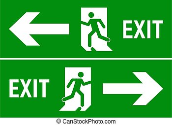 evacuatie, teken., fire door, vector, afslaf, het teken van de pijl, ontsnapping, pictogram, route, noodgeval